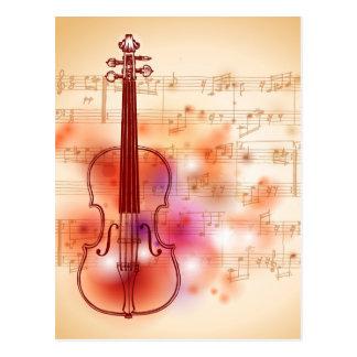 Het trekken op waterverfachtergrond van viool briefkaart
