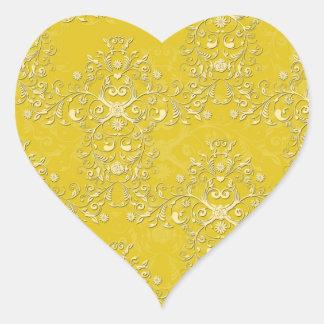 Het trillende Gele BloemenPatroon van het Damast Hart Sticker