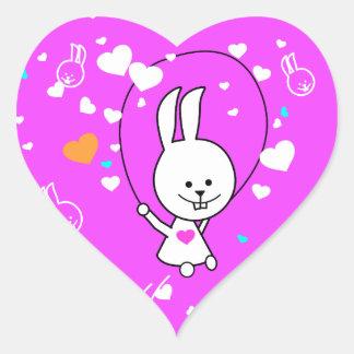 Het trillende Roze Gelukkige Konijntje van Roping Hart Sticker