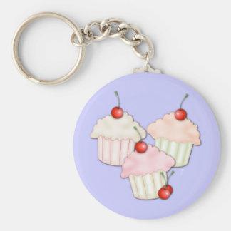 Het Trio van Cupcake Basic Ronde Button Sleutelhanger