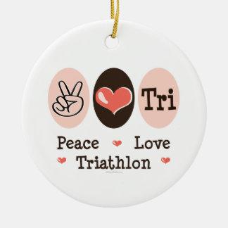 Het TriOrnament van de Liefde van de vrede Rond Keramisch Ornament