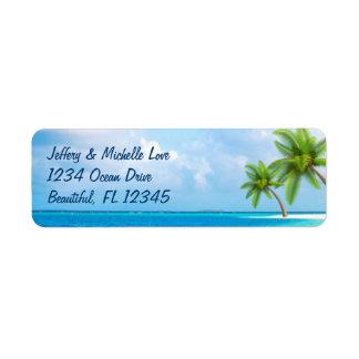 Het tropische Adres van het Strand van Palmen Etiket