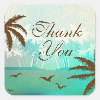 Het tropische Blauwgroen Schilderachtig Strand Vierkante Sticker
