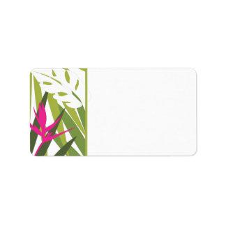 Het tropische Groen en Roze Etiket van het Adres -