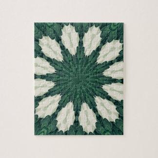 Het tropische Groene en Zilveren Blad Mandala. van Legpuzzel