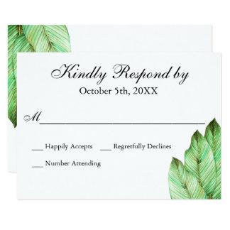 Het Tropische Huwelijk RSVP van het Gebladerte van 8,9x12,7 Uitnodiging Kaart