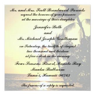 Het tropische Huwelijk van de Oever van het Strand 13,3x13,3 Vierkante Uitnodiging Kaart