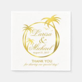 Het Tropische Logo van het Palm Beach   faux Wegwerp Servet
