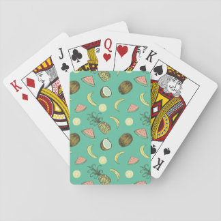 Het tropische Patroon van de Krabbel van het Fruit Speelkaarten