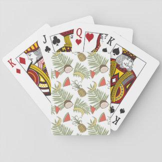 Het tropische Patroon van de Schets van het Fruit Pokerkaarten