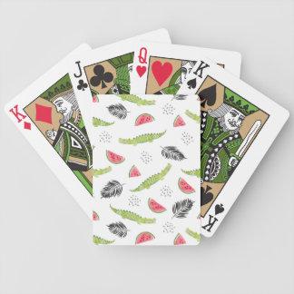 Het tropische Patroon van de Watermeloen & van de Bicycle Speelkaarten