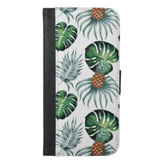 Het tropische waterverfananas schilderen op wit iPhone 6/6s plus portemonnee hoesje