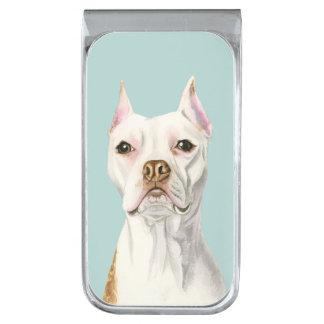 """Het """"trotse en Lange"""" Witte Portret van de Hond Verzilverde Geldclip"""