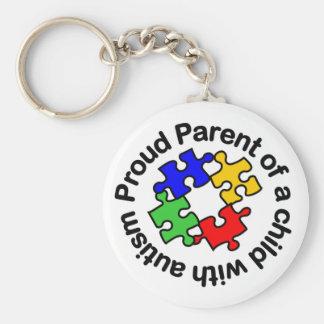 Het trotse Kind w/autism Keychain van de Ouder Basic Ronde Button Sleutelhanger