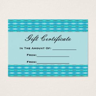 Het turkooise Certificaat van de Gift
