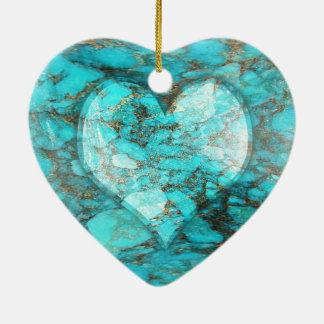 Het turkooise Hart van de Rots Keramisch Hart Ornament