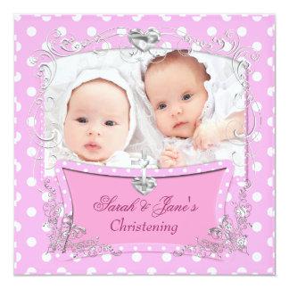 Het tweeling Baby die van Meisjes het Roze van het Custom Uitnodigingen
