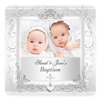 Het tweeling Doopsel van het Doopsel van de Jongen 13,3x13,3 Vierkante Uitnodiging Kaart