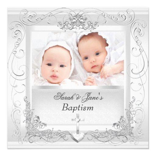 Het tweeling Wit van het Doopsel van het Doopsel v Persoonlijke Aankondigingen