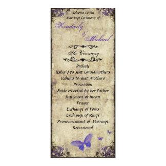 Het tweezijdige Paarse Programma van het Huwelijk 10,2x23,5 Uitnodiging Kaart