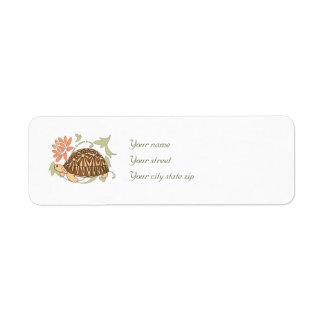 Het uitgestraalde Adresetiket van de Schildpad Etiket