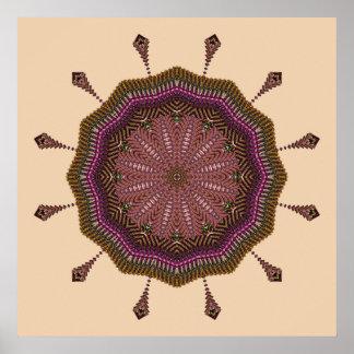 Het uitstralen van Weefsel Mandala Poster