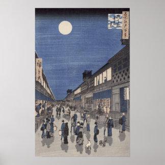 Het uitzicht van de nacht van Straat Saruwaka Poster