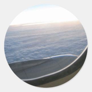 Het uitzicht van het vliegtuig ronde sticker
