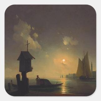 Het uitzicht van het Zee van Aivazovsky- van Ivan Vierkante Sticker