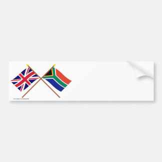 het UK en Zuid-Afrika Gekruiste Vlaggen Bumpersticker
