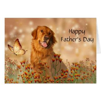 Het Vaderdag van het golden retriever Wenskaart