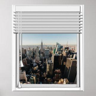 Het Valse Venster van het Uitzicht van de Stad van Poster