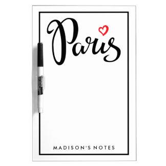 Het Van letters voorzien van de Borstel van Parijs Whiteboard