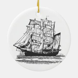 Het varen het Windjammer van de Zeilboot van de Rond Keramisch Ornament