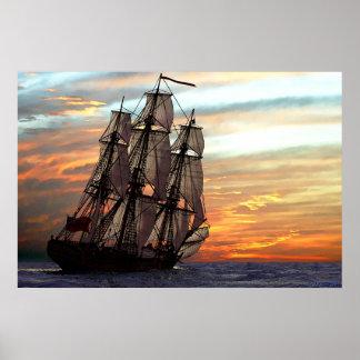 het varen naar zonsondergang poster