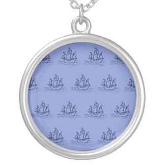 Het varende Patroon van het Schip. Medio Blauw Zilver Vergulden Ketting