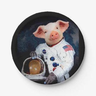 Het varken van de astronaut - ruimteastronaut papieren bordje