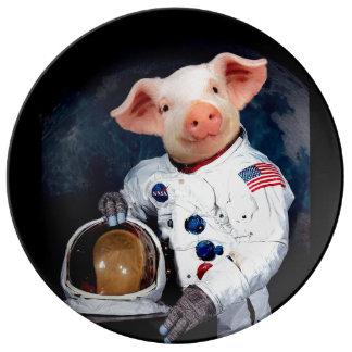 Het varken van de astronaut - ruimteastronaut porseleinen bord