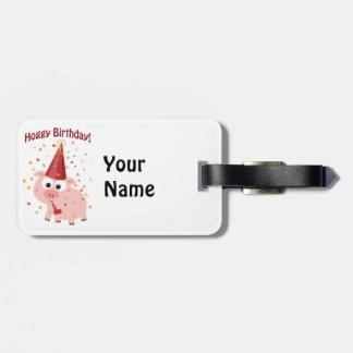 Het Varken van de Verjaardag van Hoggy Bagagelabel