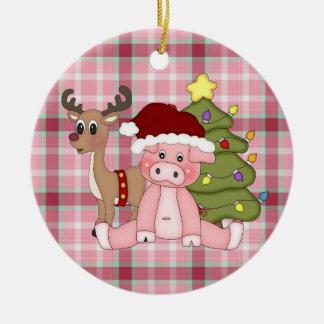 Het varkensornament van de Vakantie van Kerstmis Rond Keramisch Ornament