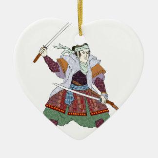 Het Vechten van de Strijder van samoeraien de Keramisch Hart Ornament