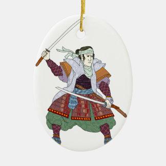 Het Vechten van de Strijder van samoeraien de Keramisch Ovaal Ornament