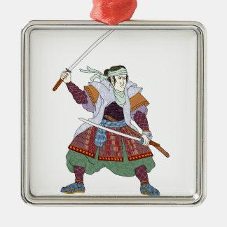 Het Vechten van de Strijder van samoeraien de Zilverkleurig Vierkant Ornament