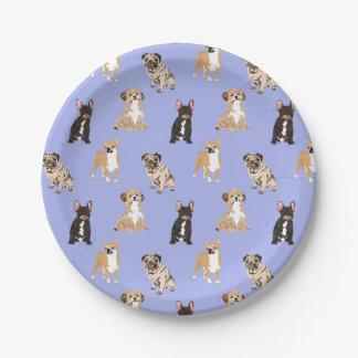 Het Vector Naadloze Patroon van honden Papieren Bordje