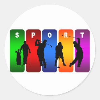 Het veelkleurige Embleem van het Golf Ronde Stickers