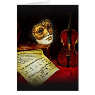 Het Venetiaanse collectie van Maskers - Muzikale Wenskaart
