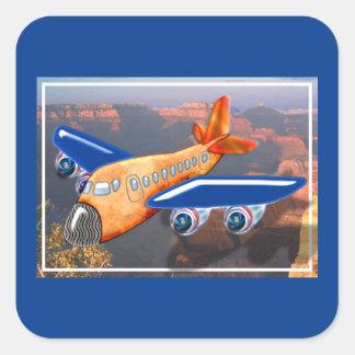 Het verbazende LuchtUitzicht van het Vliegtuig Vierkante Sticker
