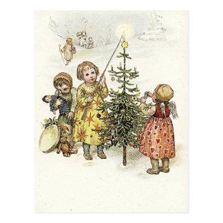 Het verfraaien van de Kerstboom Briefkaart