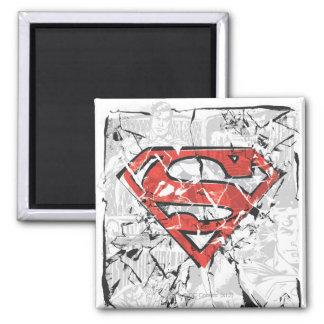 Het verfrommelde Grappige Logo van de Superman Vierkante Magneet
