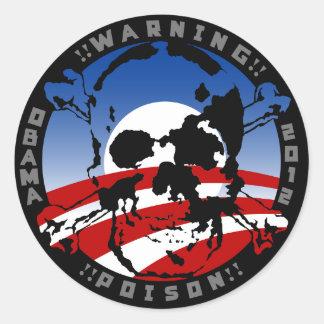 het vergift van waarschuwingsobama 2012 ronde sticker